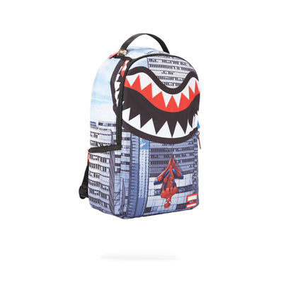 Sprayground Spiderman Upside Down Shark Backpack Assorted Angled