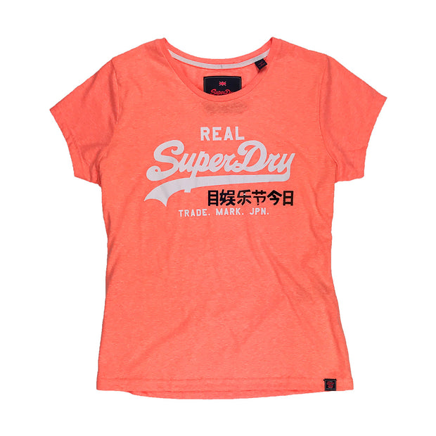 Superdry Women's Vintage Logo Foil Pop Entry Tee Peach