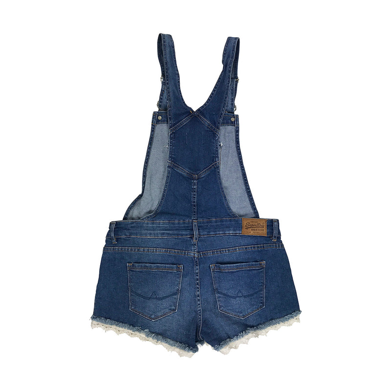 Superdry Hot Short Dungaree Blue Denim Back