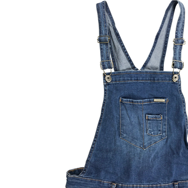 Superdry Hot Short Dungaree Blue Denim Neckline