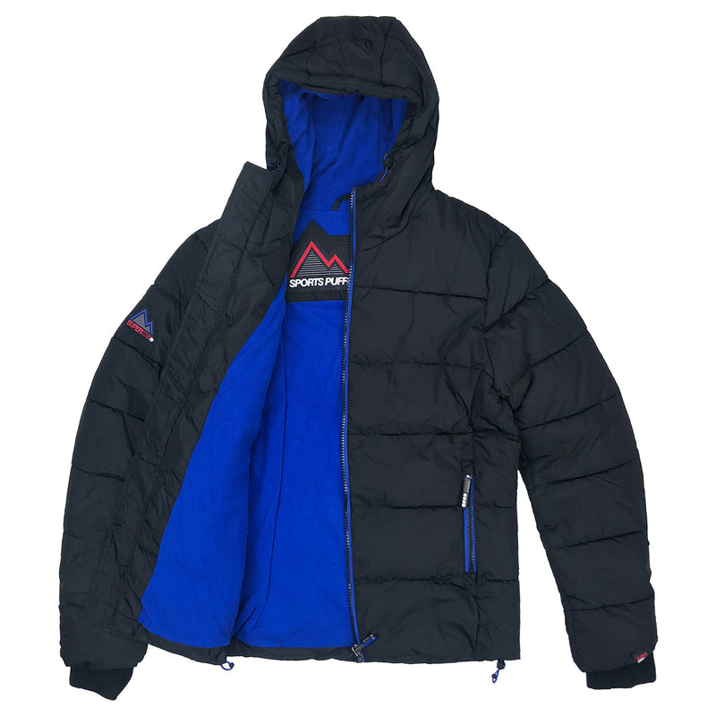 Superdry Men's Sport Puffer Jacket Black Opened