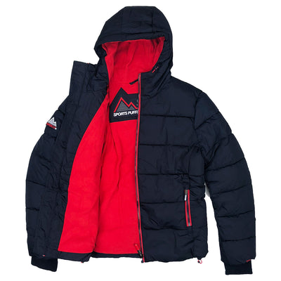 Superdry Men's Sports Puffer Jacket Navy Blue Opened