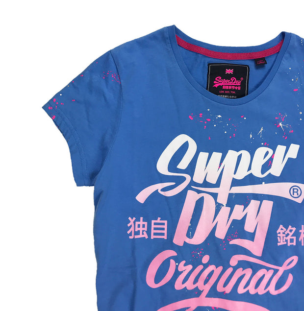 Superdry Original Brand Entry Tee Blue Neckline