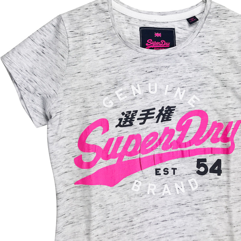 Superdry SD 54 Entry Tee Grey Neckline