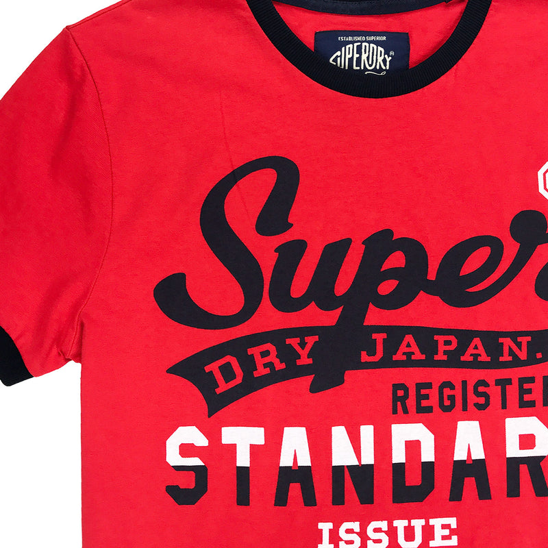 Superdry Standard Issue Ringer Tee Red Neckline