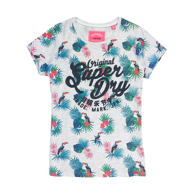 Superdry Swirly AOP Entry Tee White