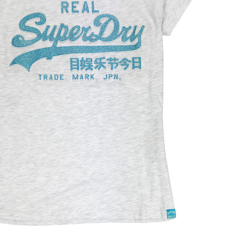 Superdry Vintage Logo Glitter Embossed Entry Tee Grey Waist