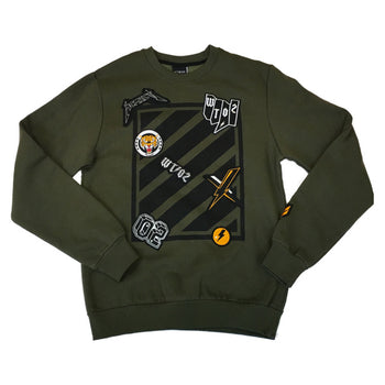 WT02 - Mens - Fleece Crew Neck Sweater /w Patches - Olive