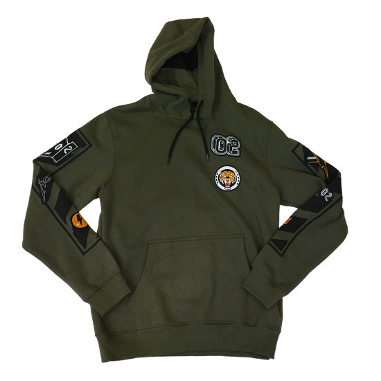 WT02 - Mens - Fleece Hoodie w/ Patches - Olive