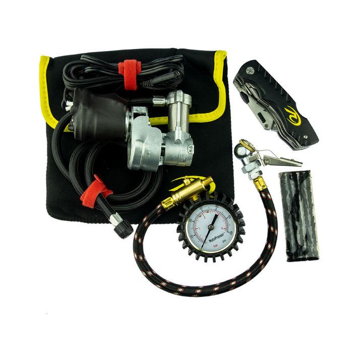 MotoPressor Pocket Pump Combo w/Puncture Repair Tool, Inline Tyre Gauge
