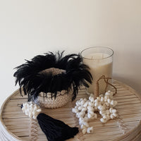 Macrame & Feather Basket - Small