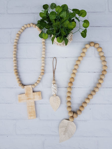 Beaded Wooden Cross - Natural
