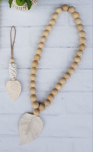 Beaded Cotton Leaf Tassle - Natural