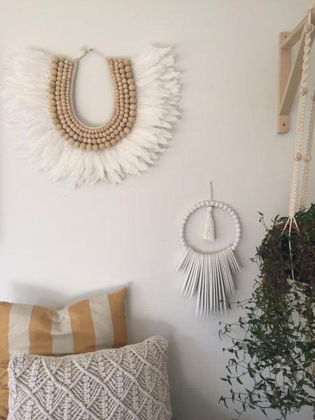 White Beaded Tribal Necklace