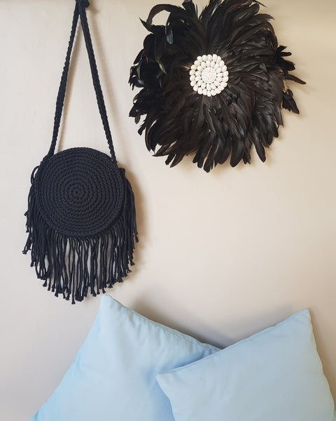 Macrame Round Bag Black