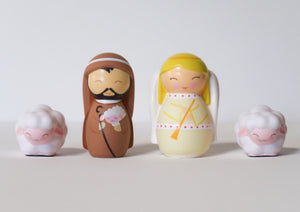 The Shepherd and Angel Nativity Set