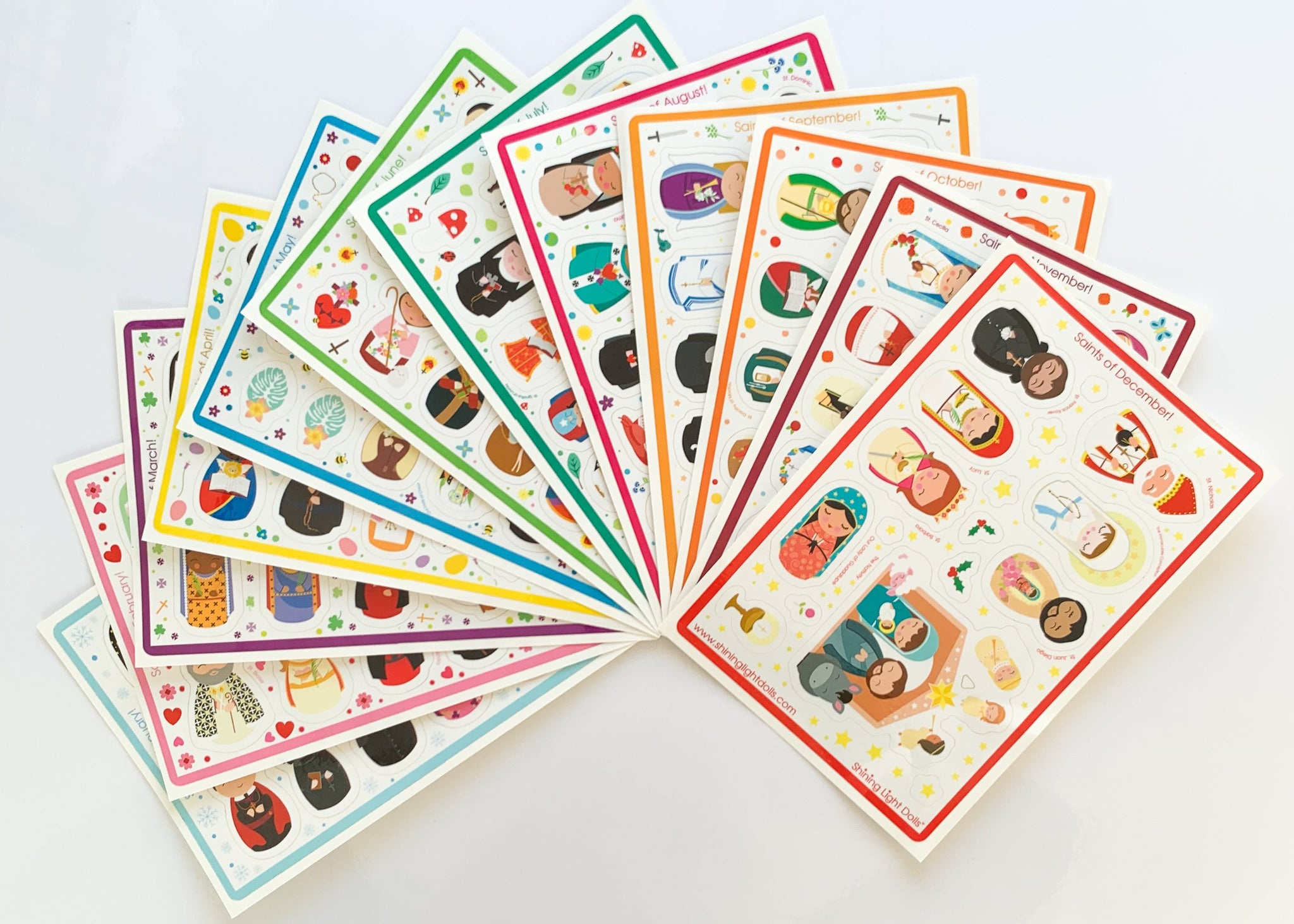 Saints of the Month Sticker Sheets-Complete Set of 12