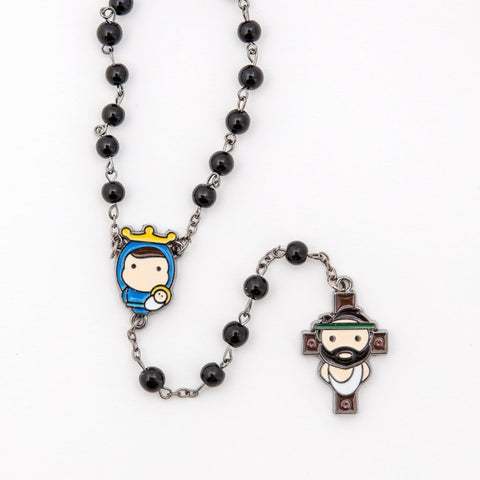 Tiny Saints Rosary (Black)