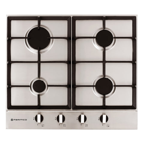 600mm Hob, 4 Burner, Gas, Stainless Steel