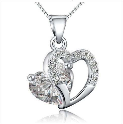 Labelle love heart crystal and silver pendants necklace labellejewels labelle love heart crystal and silver pendants necklace aloadofball Image collections