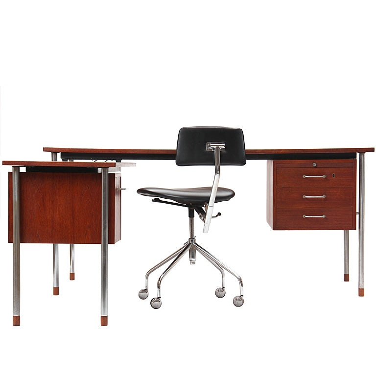 Teak and Steel Desk