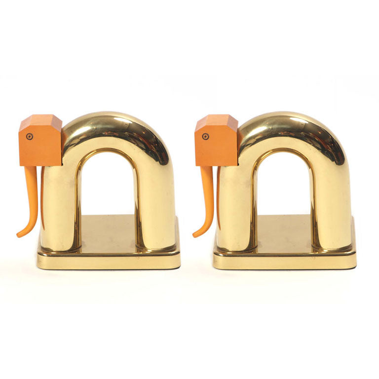 Brass Elephant Bookends - Accessories - Walter Von Nessen WYETH