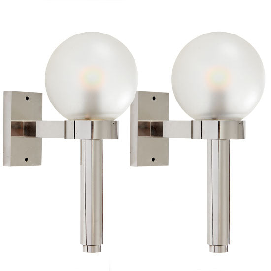 Pair of Polished Nickel Wall Lights - Lighting - Angelo Lelli WYETH