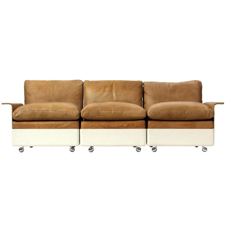 Model 620 Fiberglass and Leather Three Seat Sofa