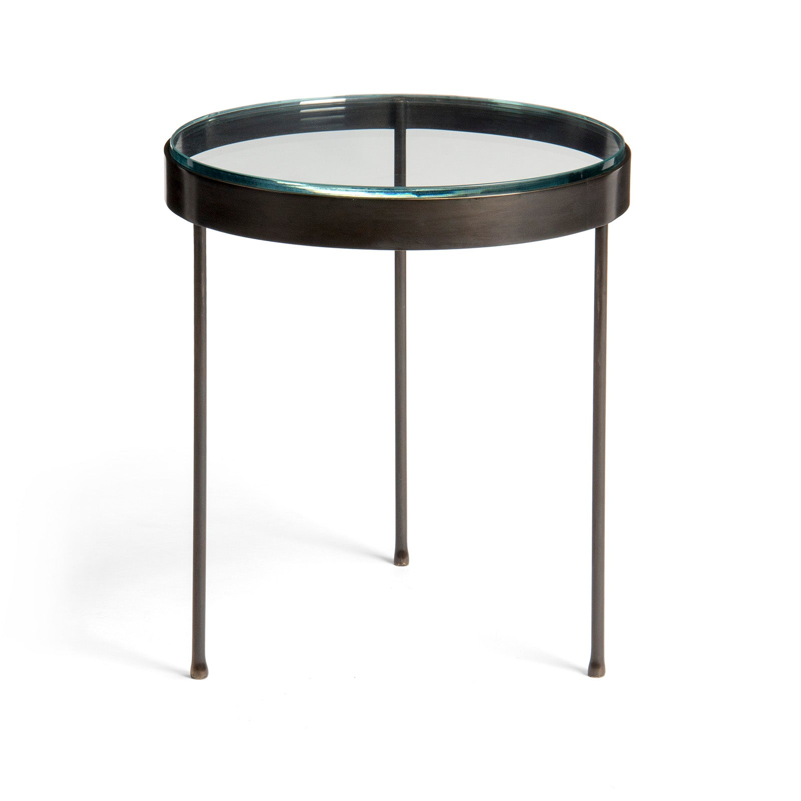 Metal and Glass Round End Table