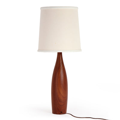 Pair of Turned Teak Table Lamps