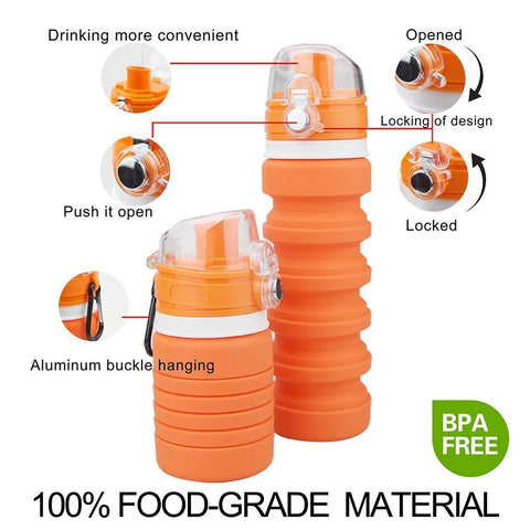 Collapsible Sports Water Bottles for Kids and Adults
