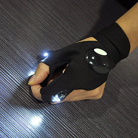 One Pair LED Flashlight Gloves for Fishing, Camping, Car Repair