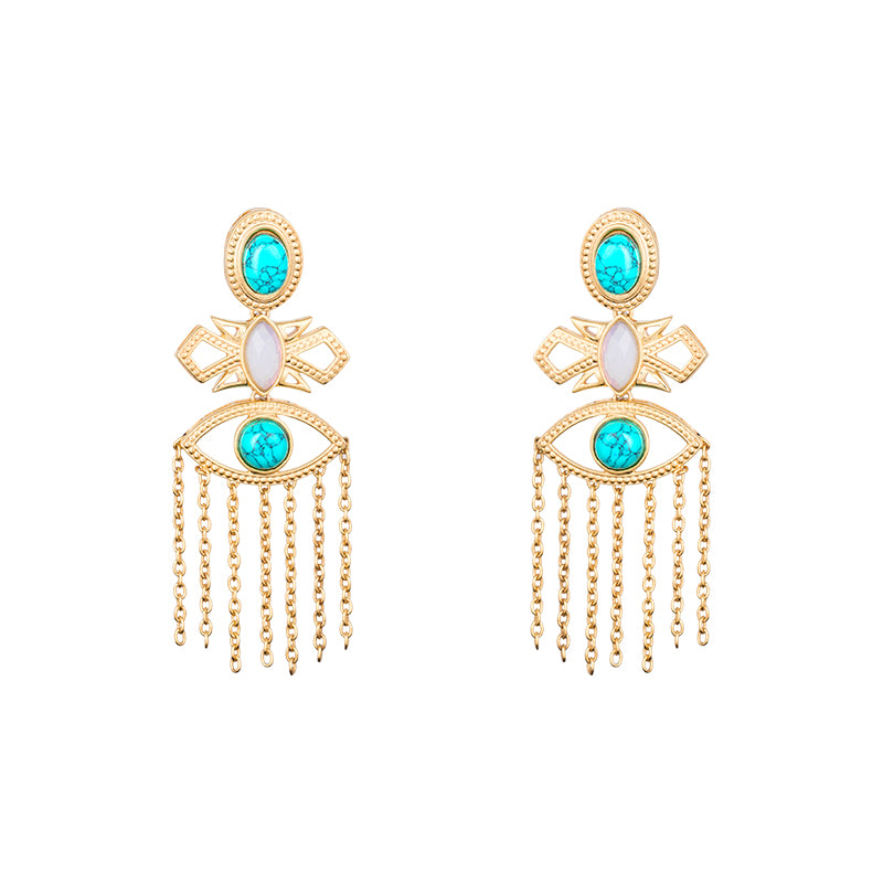 LOUPE TURQUOISE EARRINGS FASHION JEWELLERY BL17BER01, EARRING, Loupe, Loupe India - Loupe India