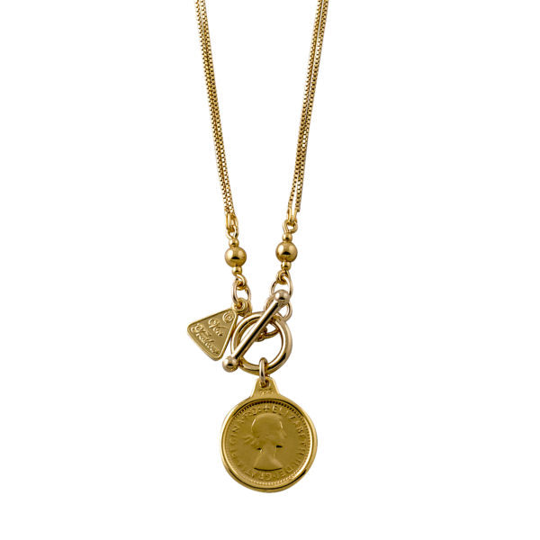 DOUBLE BOX CHAIN NECKLACE WITH THREEPENCE