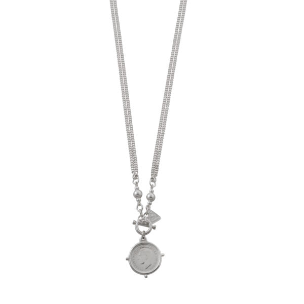 DOUBLE CURB NECKLACE WITH SIXPENCE
