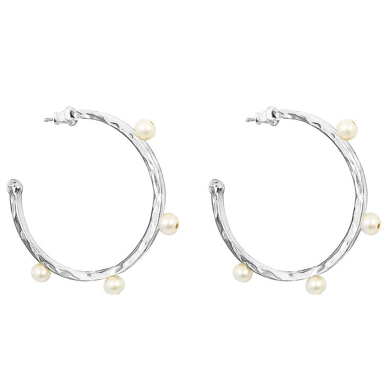 BELLA HAMMERED PEARL HOOP