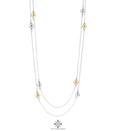 CARMEN POLISHED BALL NECKLACE - LONG | ALTERNATING SILVER & GOLD DETAIL