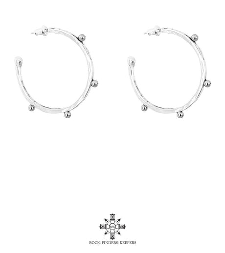 BELLA LARGE HAMMERED HOOP EARRINGS |  SILVER