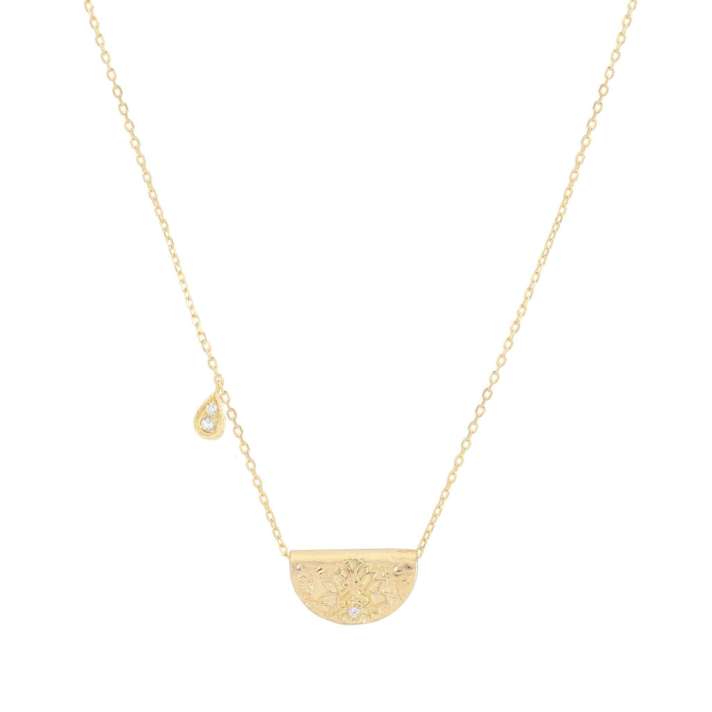 GOLD SHINE BRIGHTLY LOTUS BIRTHSTONE NECKLACE - APRIL