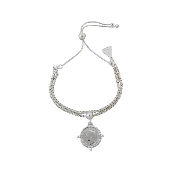 ADJUSTABLE DOUBLE BOX CHAIN BRACELET WITH THREEPENCE
