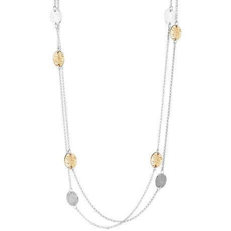 KARA LONG NECKLACE - ROSE AND SILVER