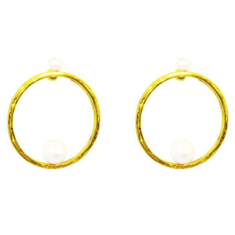 LAYLA EARRINGS - GOLD PEARL