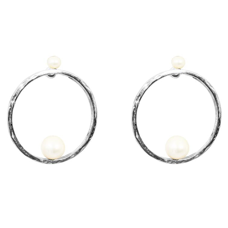 LAYLA EARRINGS - SILVER PEARL