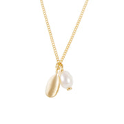PEARL DISK NECKLACE GOLD