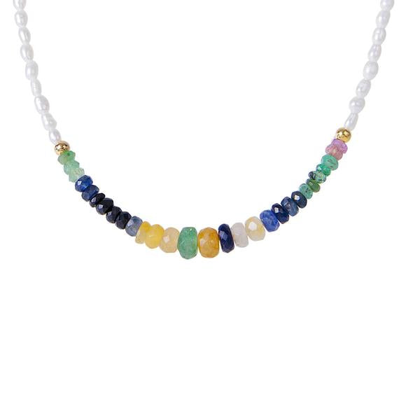 SAPPHIRE SEED PEARL RAINBOW NECKLACE