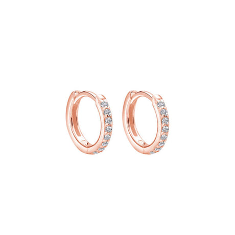 EARRINGS 11MM WHITE TOPAZ HUGGIES IN ROSE GOLD