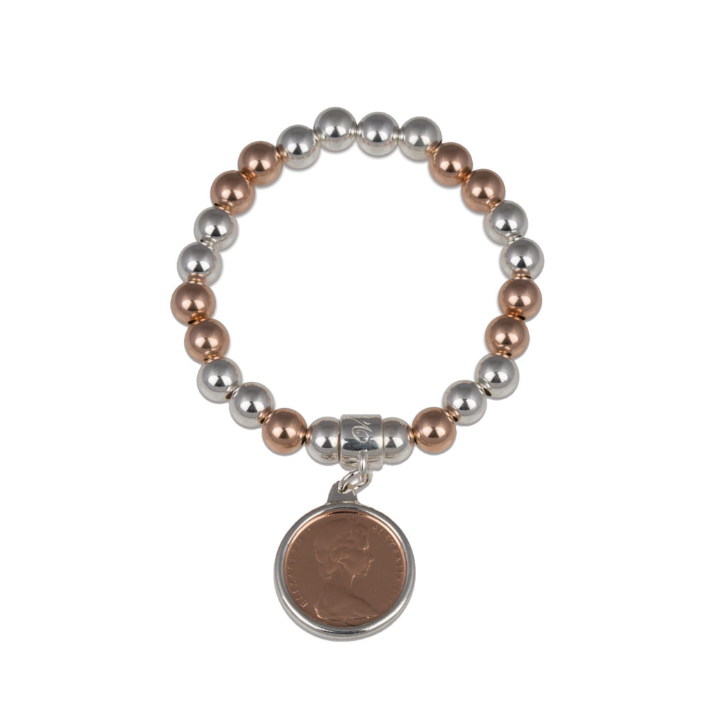 TWO TONE TWO CENT COIN BRACELET