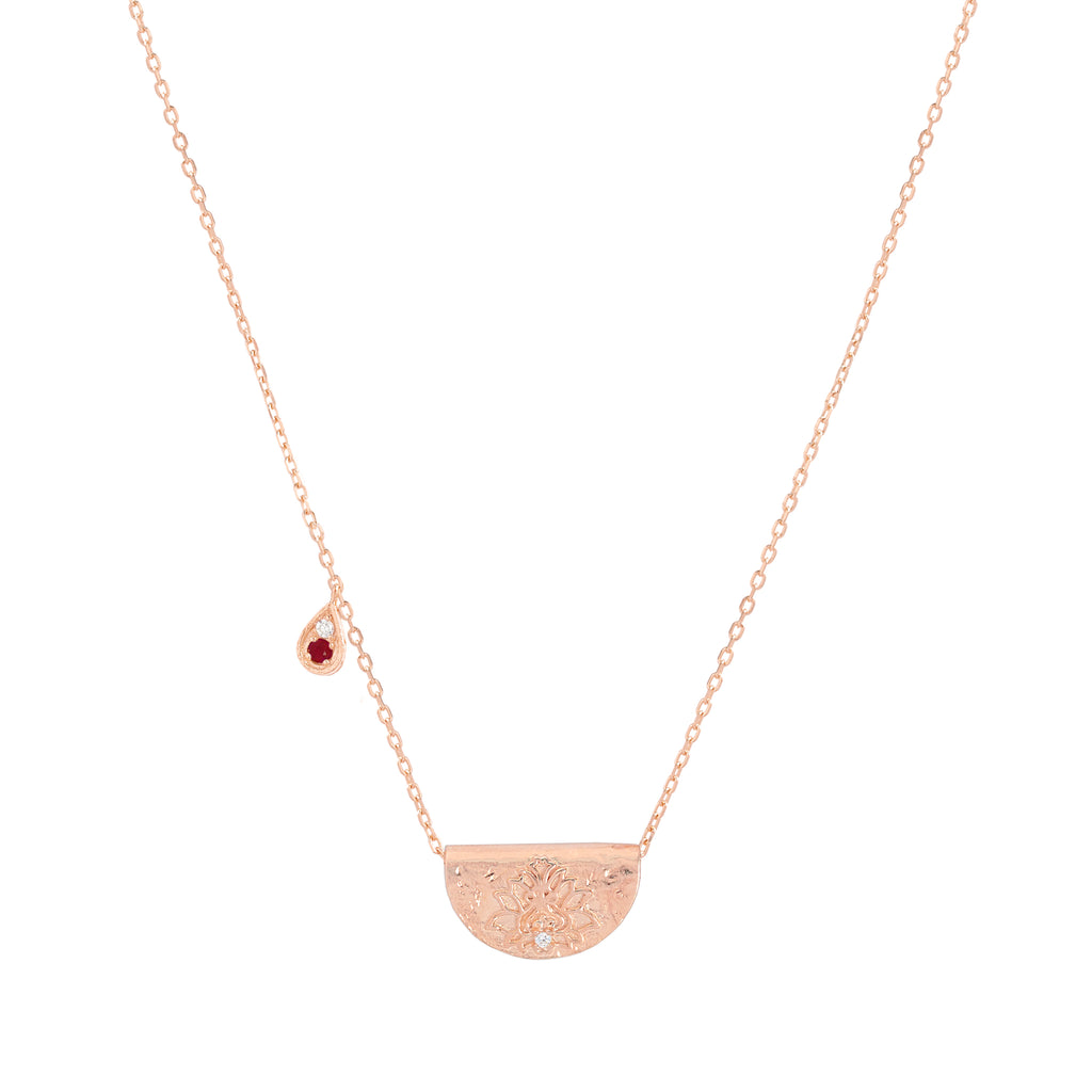 EMBRACE YOUR PATH ROSE GOLD JULY NECKLACE