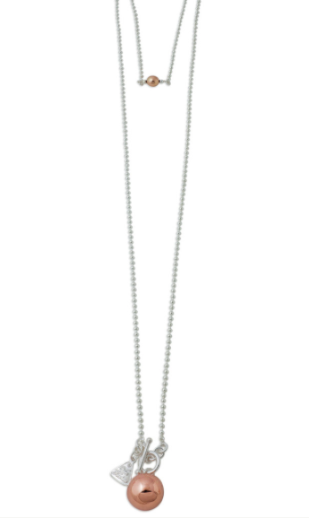 TWO TONE ROSE CHIME BALL NECKLACE