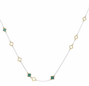 NECKLACE MALA SILVER GOLD TURQUOISE